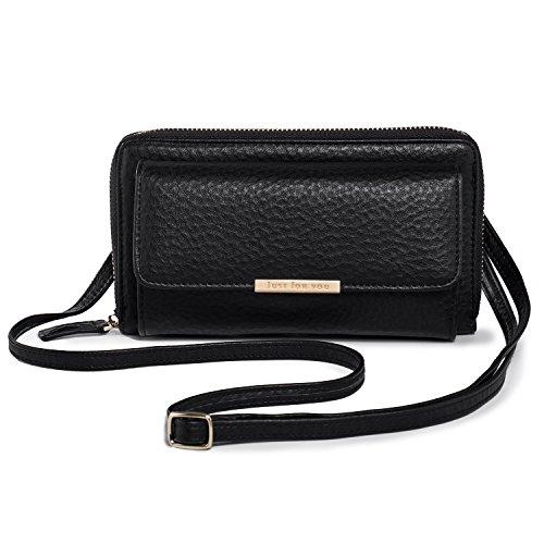 Brieftasche Brieftasche Frauen Kleine (Kleine Umhängetasche für Damen, Mädchen Schultertaschen Mini Handytasche Geldbörse Brieftasche Tasche mit Kartensteckplatz, PU-Leder Katloo + Nagelknipser (Schwarz))