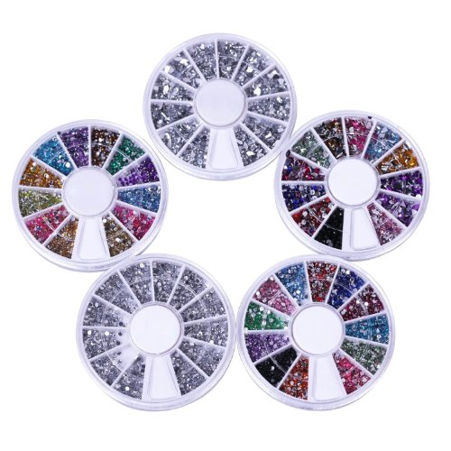 SODIAL(R) Nail Art Kit / Set d'accessoires pour manucure / pedicure pour d¨¦co d'ongles : 5 carroussels de nailart strass de diff¨¦rentes couleurs et de diff¨¦rentes formes. Excellent rapport prix / quantit¨¦!