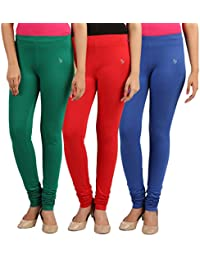 FlyColors Women's Cotton Churidar Leggings(Pack Of 3)