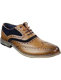 ea04bccb8b03 Cavani Ethan Real Leather Tan Blue Black Gatesby Brogues Casual Designer  Retro Shoes