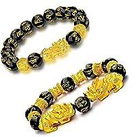 2 Stks 12 mm Feng Shui Armband, Pi Xiu/Pi Yao trekken veel geluk rijkdom Amulet Armband voor Vrouw Man,Hand gesneden Mantra Stone Obsidian Armband AAAA