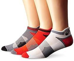 ASICS Unisex Quick Lyte Cushion Single Tab Socks (3 Pairs), Cone Orange Assorted, Small