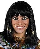 egipcio Peluca Mujer Cleopatra Peluca Accesorio Disfraz Mujer Reina De Nilo Negro Peluca con trenzas EN EL OTRO, Grueso Flequillos