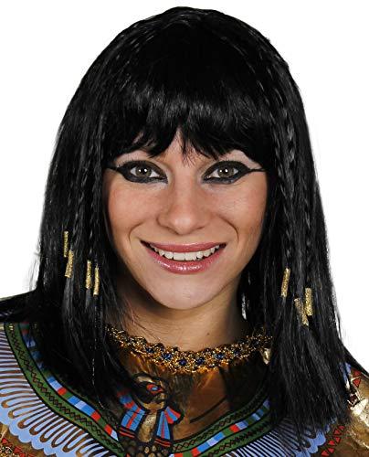 egiziano PARRUCCA DONNA CLEOPATRA PARRUCCA accessorio vestito donna REGINA DEL NILO NERO Parrucca con Trecce alla AVANTI E SPESSO frangia