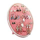 Ohrring Ständer Display aus Samt Ohrschmuck Organizer Ohrringhalter 29 x 22 cm (Pink)