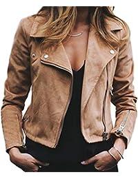 Blouson de Motard Femme Slim Fit Col À Revers Veste Court de Faux Cuir Mode  Couleur f3949a27175