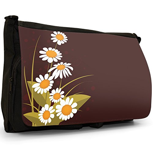 Fancy A Bag Borsa Messenger nero Abstract Red Flowers Group Of White Daisies On Brown Background