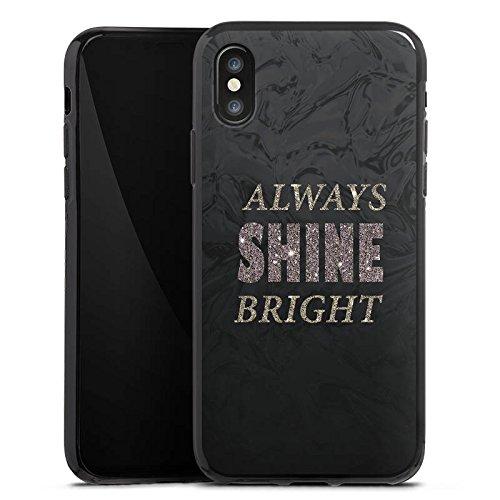 Apple iPhone X Silikon Hülle Case Schutzhülle Shine Glitzer Sprüche Silikon Case schwarz