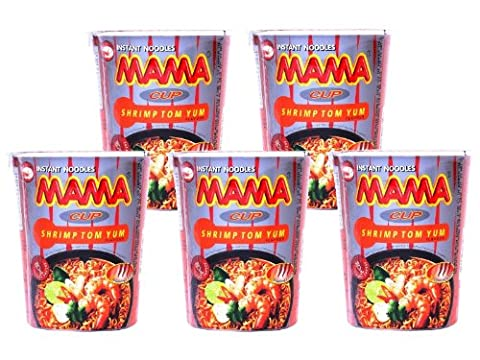 Mama - Cup Asia Nudeln Shrimp Tom Yum Geschmack - 5er Pack (5 x 70g) - Thai Nudelsuppe (Thai Nudeln)