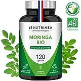 MORINGA Oleifera BIO 400mg - Source Premium de nutriments, vitamines, minéraux, acides aminés, zinc et magnésium - Tonus, Antioxydant, Système-immunitaire - 120 gélules vegan - Fabriqué en France