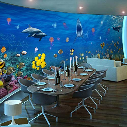 L22LW Wandbild 3D Sea World Nahtlose Kindergarten Ktv Thema Restaurant Des Hotel Kinder Zimmer Swimmingpool Wallpaper Wallpaper, 450 Cm * 315 Cm (H)