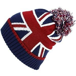 51UFDRJIuJL. SS300  - Macahel Union Jack Bobble Beanie Hat with Super Soft Fleece Lining