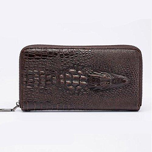 LS Herren Clutch Bag Leder Öl Wachs Mantel Rindsleder Vintage Zip Rindsleder Krokodil Geldbörse Handtasche