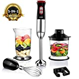 Hand Blender, Aicok 800W 5-in-1 Immersion Blender Set with 12-Speed and Turbo, Includes