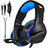Leegoal Stereo Gaming Headset, Surround Sound Over-Ear Headphones With Noise Cancelling Mic For Laptop Mac Nintendo Switch New Xbox One PS4