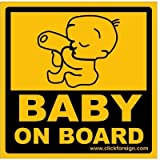 #3: Clickforsign CRD-102 Baby on Board Reflective Car Sticker, Yellow