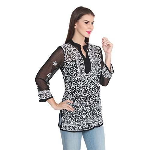 NAzAqAt Lakhnawi Chikankari Georgette Short Length Kurta Kurti Base Color Black With Fine Contrast White Color...