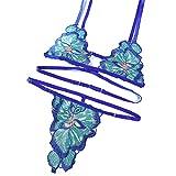 Fun-Unterwäsche Sexy Dessous Split Sexy DREI-Punkte-Stickerei Pool Party-Party Bikini, Blau, XL