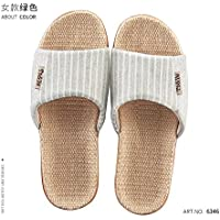 fankou Cotton and Linen Slippers Summer Men and Women Flax Thick Stay Anti-Slip Couples Home Cool in The Summer of Indoor Slippers,35/36, Green