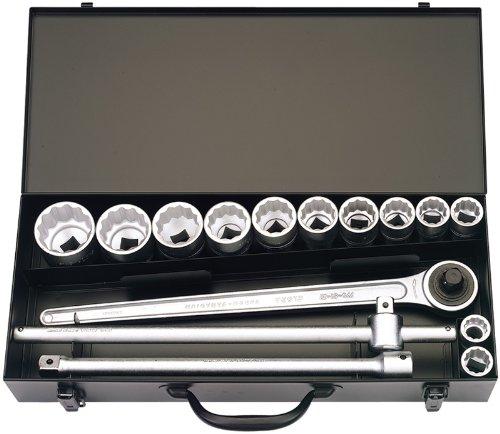 15 Stücke 1.91 cm Vierkantantrieb ELORA imperisch Steckschlüsselsatz – professionelle Qualität, hergestellt aus Chrom vanadium Stahl geschmiedet, vergütet und für besseren Korrosionsschutz zusätzlich verchromt.