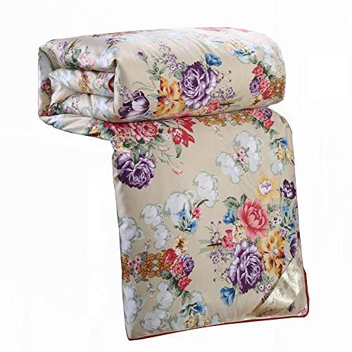 zyl Silk Print Stoff Natürliche Maulbeer Seide Gefüllt Tröster Seide Quilt,Khaki-180cm*200cm(3kg) -