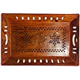 Handcrafted Decorative Dinning Wooden Tray In Sheesham For Kitchen Serving/Dining Tableware