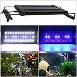 GreenSun LED Lighting LED Aquarium Beleuchtung Aquariumlampen Lampe Aufsetzleuchte Abdeckung Klemmleuchte Weiß + Blau Aquariumlicht Einstellbare auf 28-48cm für Fisch Tank