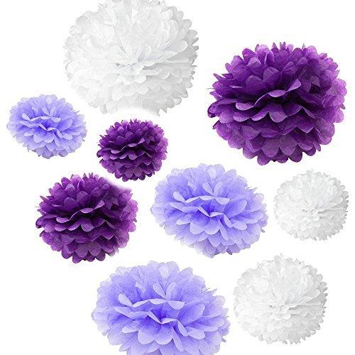 (Somnr® Set of 18PCS Mixed White Purple Lavender Tissue Pom Poms Paper Flower Wedding Pompoms Birthday Party Bridal Shower Favor Decoration by Somnr)