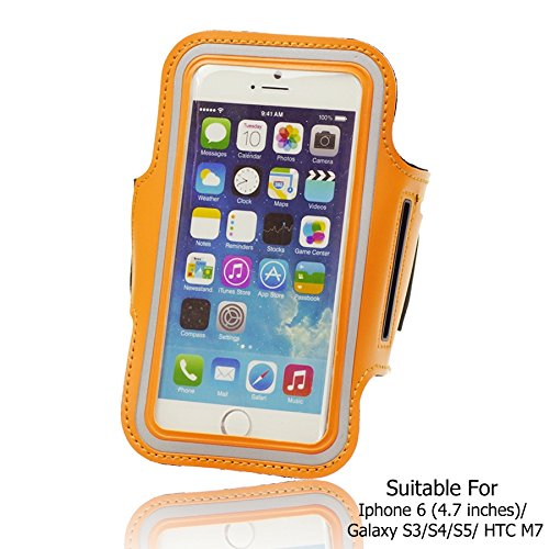 OBiDi - Sports Running Jogging Gym Armband Case Holder / Housse pour Apple iPhone 6 / 6S (4.7 inch)Smartphone - Blanc Orange