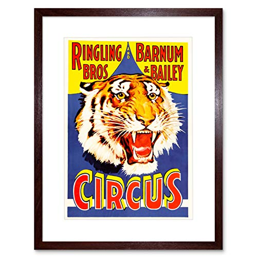 AD EXHIBITION CIRCUS BARNUM BAILEY RINGLING BROS TIGER FRAMED PRINT B12X6299