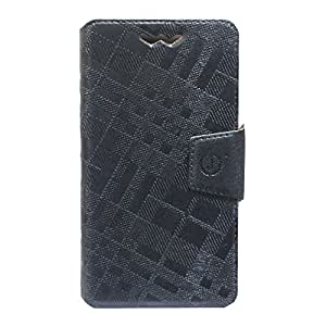 Jo Jo Cover Krish Series Leather Pouch Flip Case With Silicon Holder For Spice Stellar Mi-524 Dark Grey
