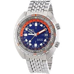 DOXA SUB 750T GMT Caribbean Herren Automatik Uhr mit Blau Zifferblatt Analog-Anzeige und Silber Edelstahl Armband 850.10.201N.10
