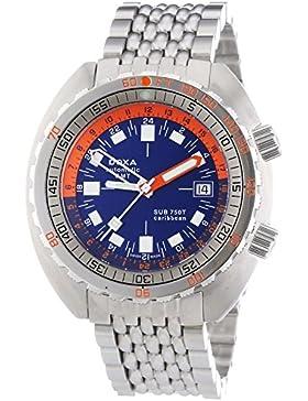 DOXA SUB 750T GMT Caribbean Herren Automatik Uhr mit Blau Zifferblatt Analog-Anzeige und Silber Edelstahl Armband...
