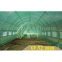 Courtois de France - Gran invernadero profesional para jardín, túnel de 24m², con tubos de 32mm de diámetro y lona de 200micrones, 9arcos, 16ventanas, 24m², 8x 3x 2m, las 16ventanas están equipadas con mosquiteras, estructura de acero galvanizado