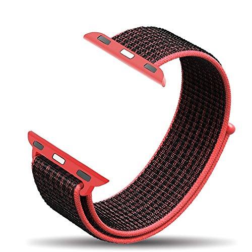 Bossy Apple Watch Armband 42mm, Klettverschluss und gewebtes Nylon Sport Ersatz Uhrenarmbänderfür Apple Watch Series 1/2/3, Nike+, Sport, Edition-Red Black