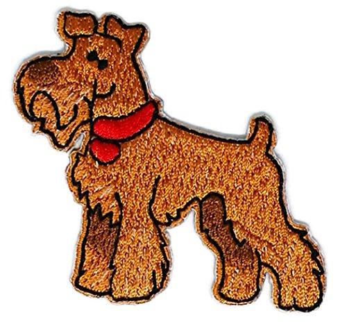 Airedale Terrier Hund Cartoon bestickt Nähen Eisen auf Patch Cartoon Nähen Eisen auf bestickte Applikation Craft handgefertigt Baby Kid Girl Frauen Tücher DIY Kostüm Zubehör (Hund Kostüme Diy)