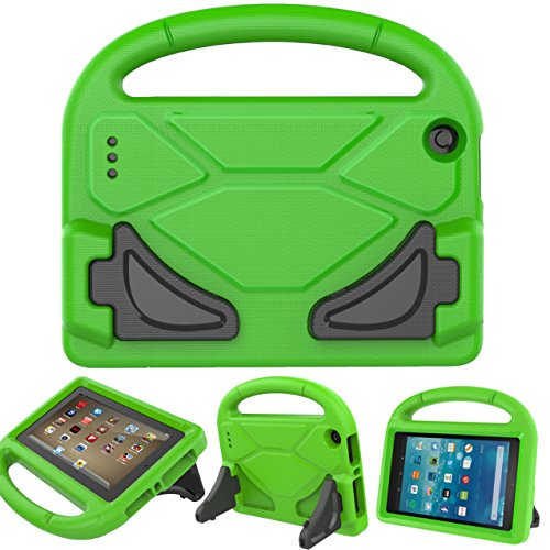 BEARS VS BABIES Fire 7 2015 Case with Screen Protector, Kinder Freundlich Light Weight Cabriolet Griff Stand Hülle für Amazon Fire 7 Tablet(5th Generation 2015 Release) Grün (Kids Fire Hd 7 Screen Protector)