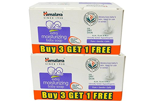 Himalaya Extra Moisturizing Baby Soap (White_75g_8 Pcs)- Pack of 2