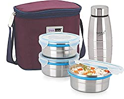 Steel Lock Lunch Box 3 pc Containers & 1 Water Bottle With Insulated Bag, Assorted color