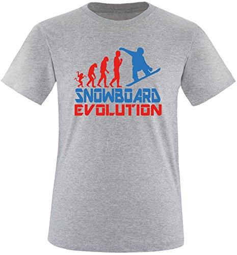 EZYshirt® Snowboard Evolution Herren Rundhals T-Shirt Grau/Rot/Blau