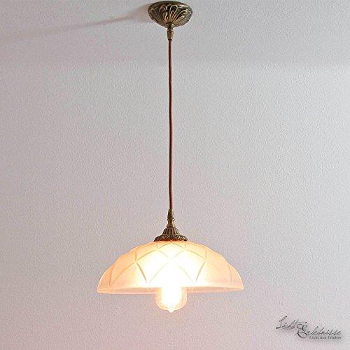Deckenlampe Jugendstil Riffelglas Echt-Messing E27 Premium Deckenleuchte Wohnzimmer Schlafzimmer Esstisch
