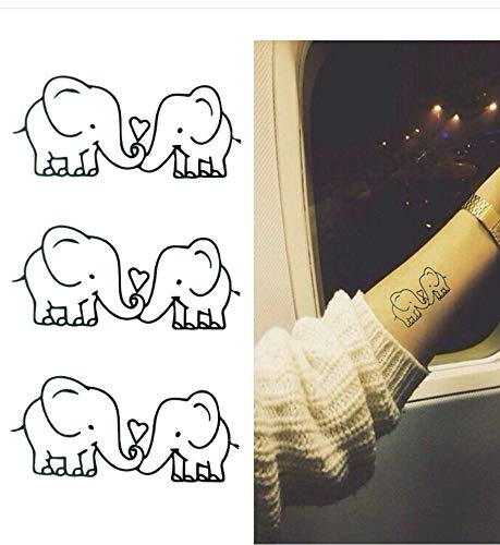 LFVGUIOP Temporäre Tattoos -Wasserdicht Abnehmbare Temporäre Tätowierung Aufkleber Niedlichen Cartoon Baby Elefanten Muster Flash Tattoo Kawaii Gefälschte Tätowierung Aufkleber PCS 3