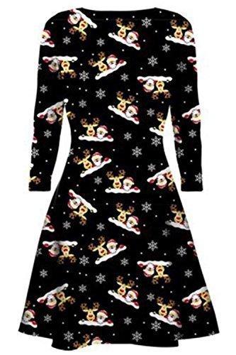 ec94085edb8 Womens Christmas Swing Dress Ladies Xmas Santa Rudolph Olaf Gift ...