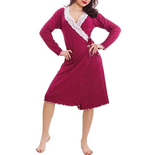 Toocool - Vestaglia donna incrociata veste da camera lingerie intimo felpata nuova S-126 Bordeaux
