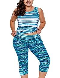 581e3b515a976 Gludear Womens Color Block Boyleg Plus Size Surf Swimwear Swim Suit Rash  Guard