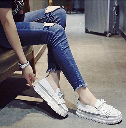 kphy-autumn spessore pino torta scarpe la versione coreana Wild Pearl Stream scarpe piccolo bianco scarpe da donna scarpe Marea, Thirty-seven Thirty-nine