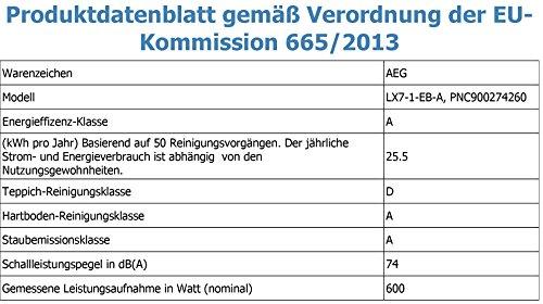AEG LX7-1-EB-A Staubsauger ohne Beutel EEK A (+ Spezialdüsen-Set für Tierhaare) schwarz - 3