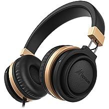 Honstek Auriculares estéreo A5, sonido de alta definición con graves fuertes y micrófono incorporado, diseño ergonómico y de moda con control en línea, jack de 3,5 mm (Negro)