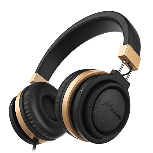 Honstek A5 Stereo On-Ear headphones, High-Definition Sound with Strong Bass and Built-In Microphone, Ergonomic and Fashionable Design with In-Line Control, 3.5mm Jack (Black)