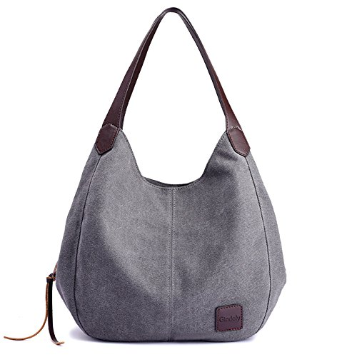 Gindoly Damen Canvas Handtasche Klein Vintage Shopper Schultertasche Henkeltasche Hobo Tasche Beuteltasche (Grau) EINWEG